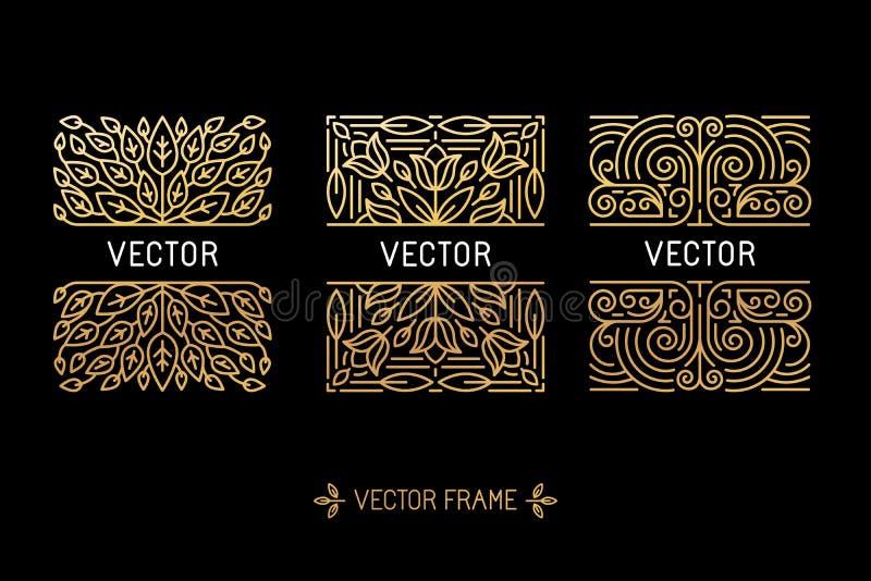 传染媒介套线性框架和花卉背景与拷贝温泉 皇族释放例证