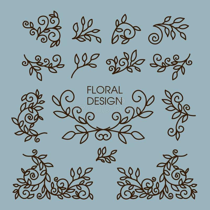 传染媒介套花卉线设计元素为 皇族释放例证