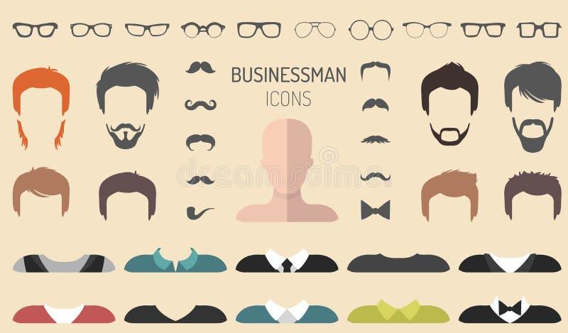 传染媒介套装饰与另外商人玻璃,胡子等的建设者 在平的样式 男性面对象创作者 皇族释放例证