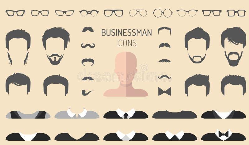 传染媒介套装饰与另外商人玻璃,胡子等的建设者 在平的样式 男性面对象创作者 库存例证