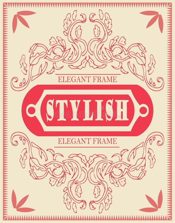 传染媒介套设计元素:古色古香和巴洛克式的框架和花饰 葡萄酒凉快的模板,邀请 向量例证