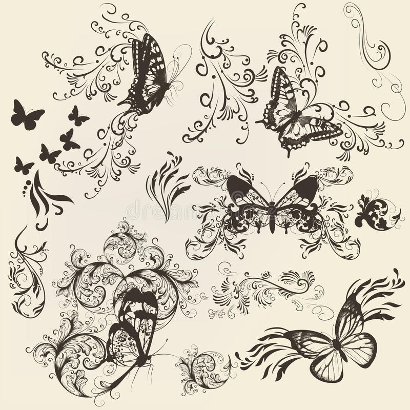 套与装饰品的金银细丝工的蝴蝶设计的 向量例证
