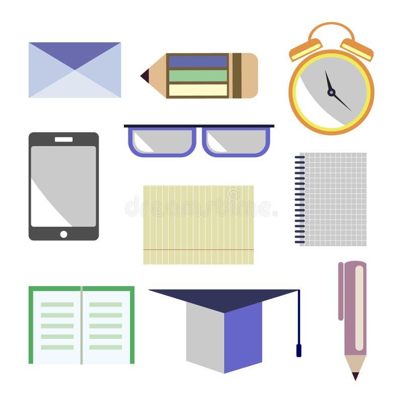 传染媒介套象 信件,玻璃,闹钟,笔,铅笔,笔记本,纸,巧妙的电话,学术盖帽 查出在白色 库存例证