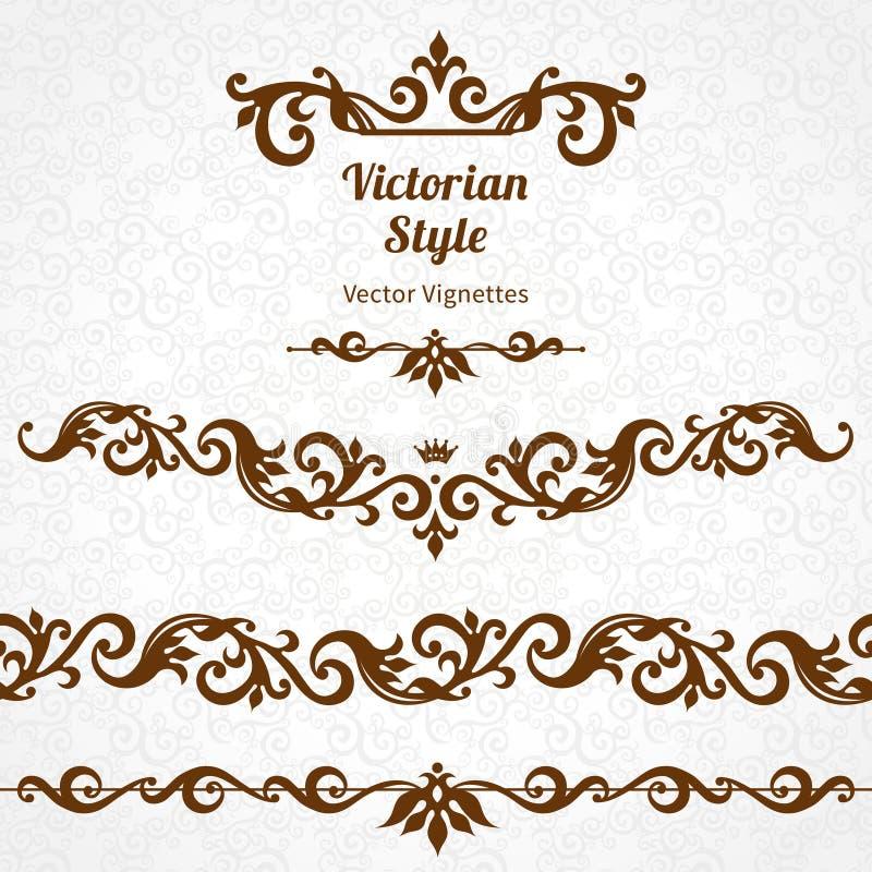 传染媒介套边界和小插图在维多利亚女王时代的样式 皇族释放例证