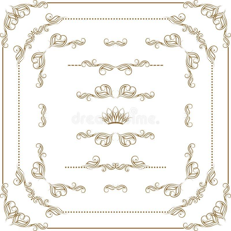传染媒介套金装饰边界,框架 向量例证