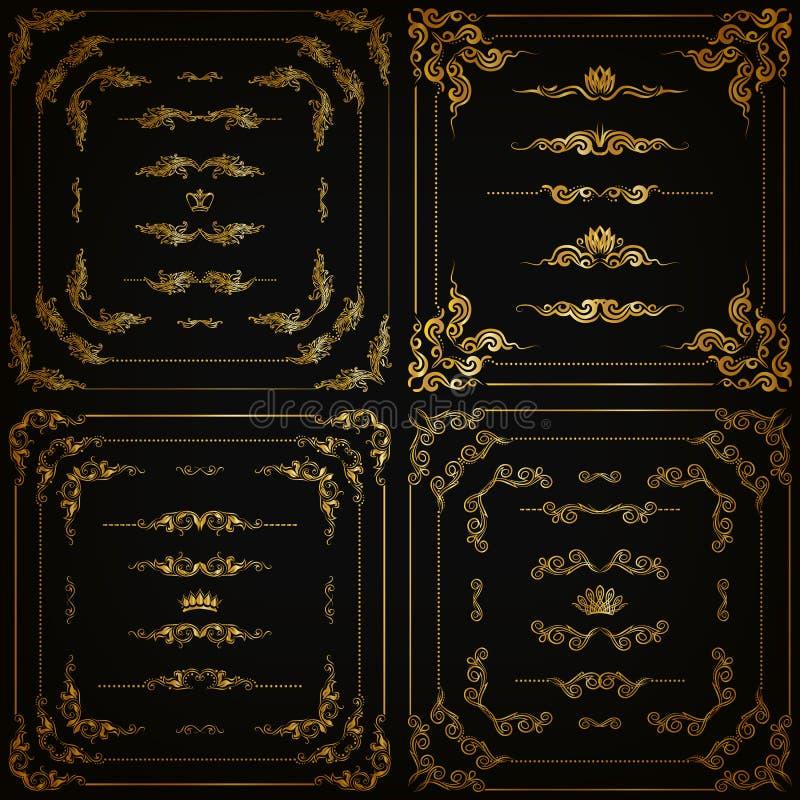 传染媒介套金装饰边界,框架 皇族释放例证