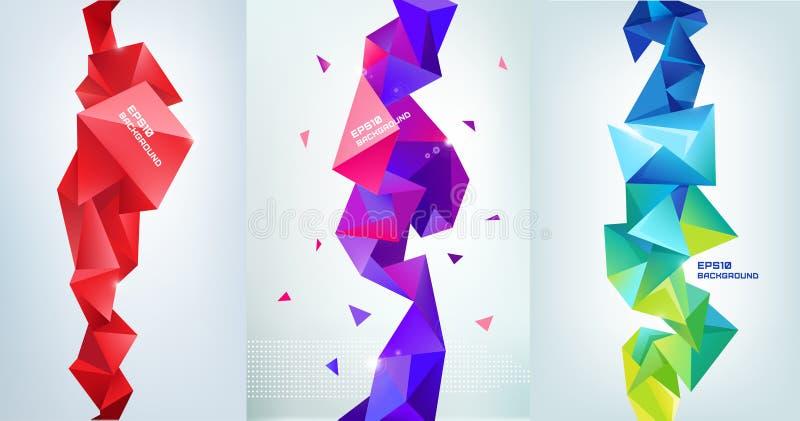 传染媒介套雕琢平面的3d水晶五颜六色的形状,横幅 皇族释放例证