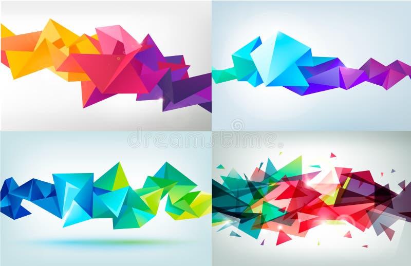 传染媒介套雕琢平面的3d水晶五颜六色的形状 库存例证