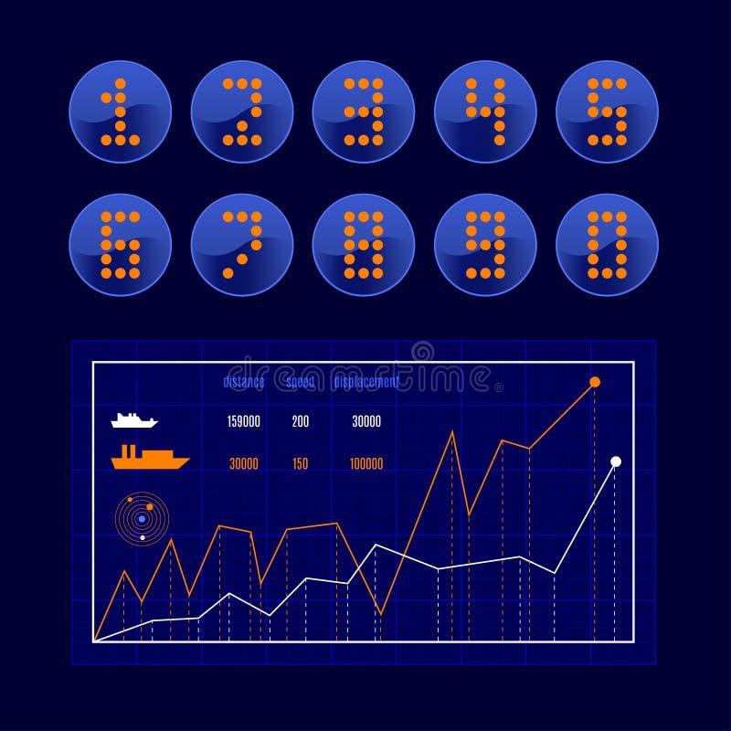 传染媒介套霓虹数字 向量例证