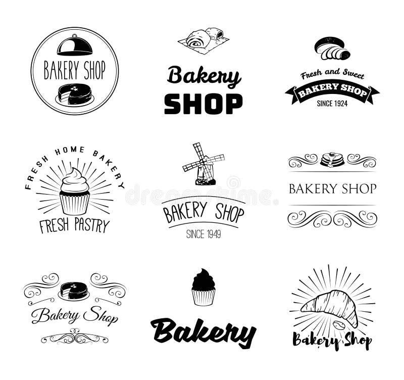 传染媒介套面包店和面包商标、标签、徽章和设计元素 向量例证