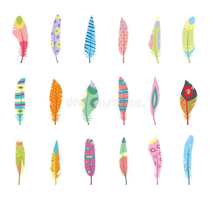 传染媒介套风格化或抽象羽毛和 库存例证