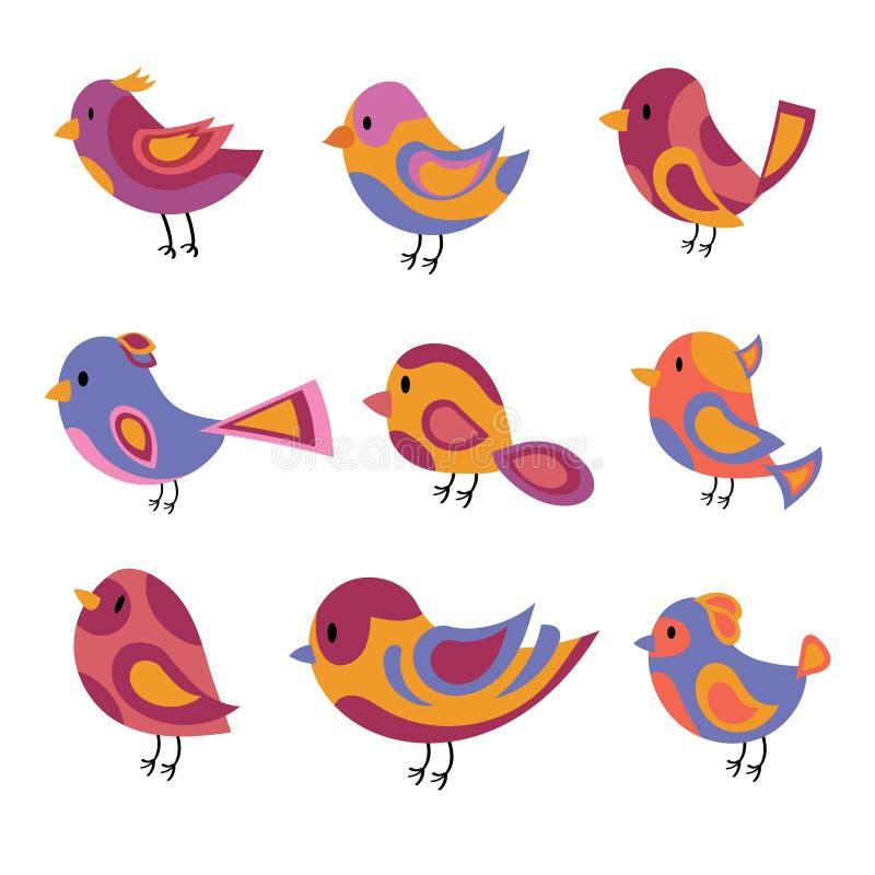 传染媒介套风格化鸟 动画片鸟的一汇集 儿童例证 形象艺术 鸠 麻雀 皇族释放例证