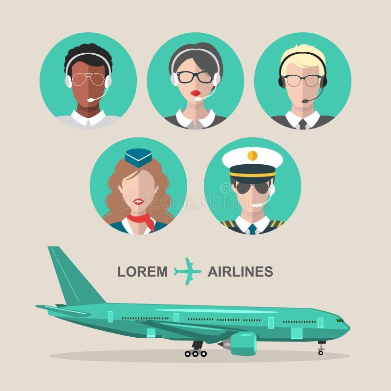 传染媒介套飞机和客舱乘员组和机场合作在平的样式的象 航空男性,女性具体化例证 库存例证