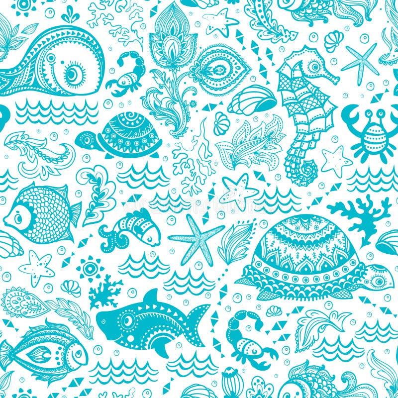 传染媒介套鱼和壳 库存例证