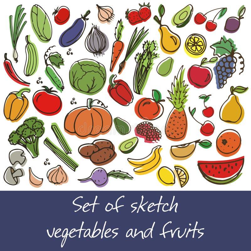 传染媒介套水果和蔬菜 库存照片