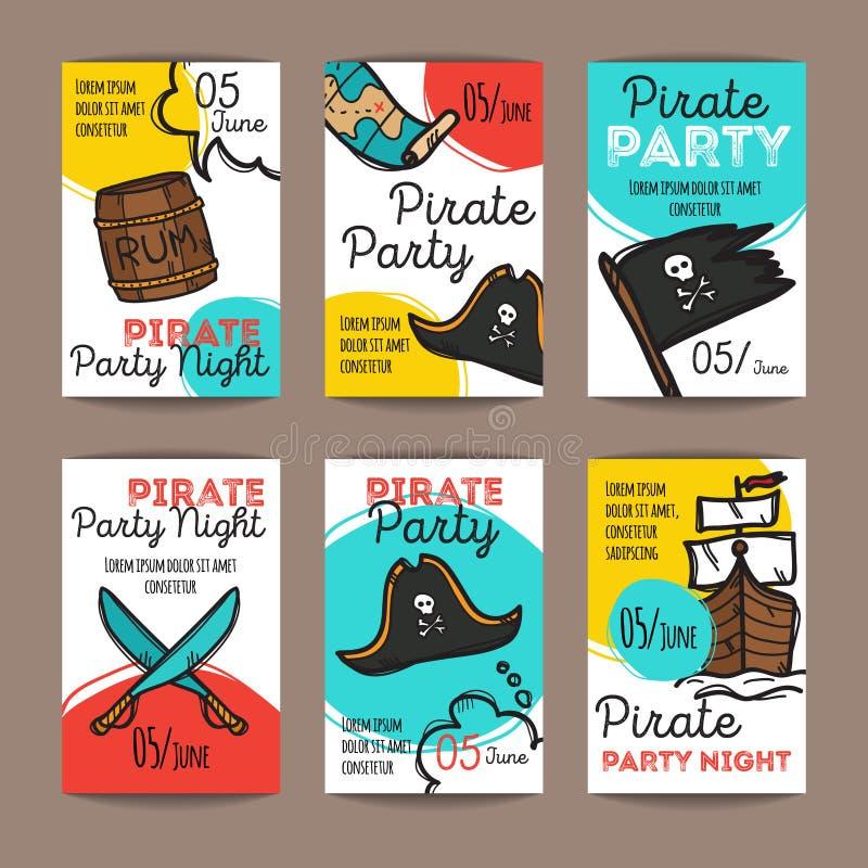 传染媒介套滑稽的党飞行物 五颜六色的乱画样式海盗夜横幅模板 皇族释放例证