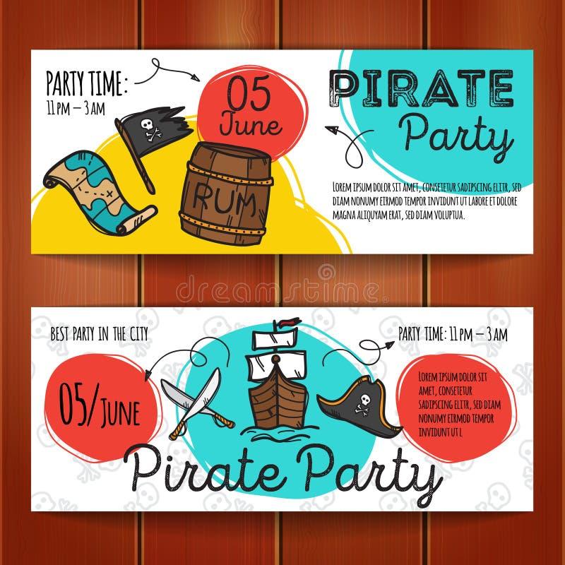 传染媒介套滑稽的党飞行物 五颜六色的乱画样式海盗夜横幅模板 向量例证