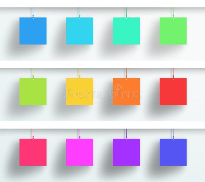 传染媒介套3d空白五颜六色方形框架垂悬 皇族释放例证