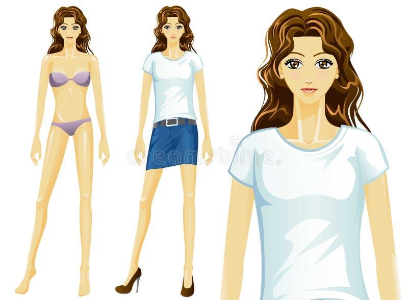 传染媒介女性T恤杉时装模特儿(亚洲) 向量例证