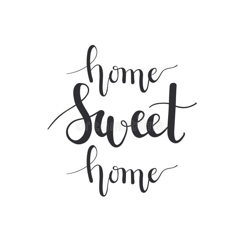 传染媒介家庭甜家庭书法模仿 手写的温暖的室内设计 向量例证