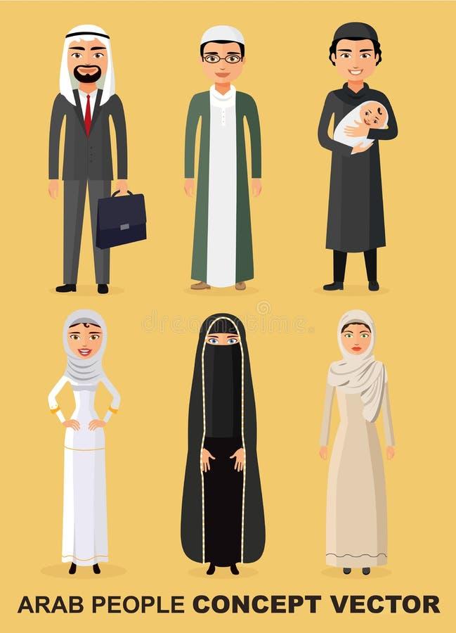 传染媒介-家庭观念 套平的样式的动画片另外阿拉伯人民 回教人民 沙特阿拉伯人字符立场集合 向量例证