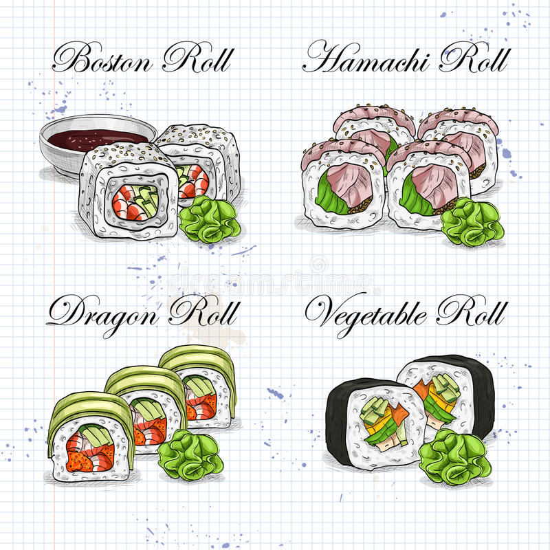 传染媒介寿司颜色剪影,集合 向量例证