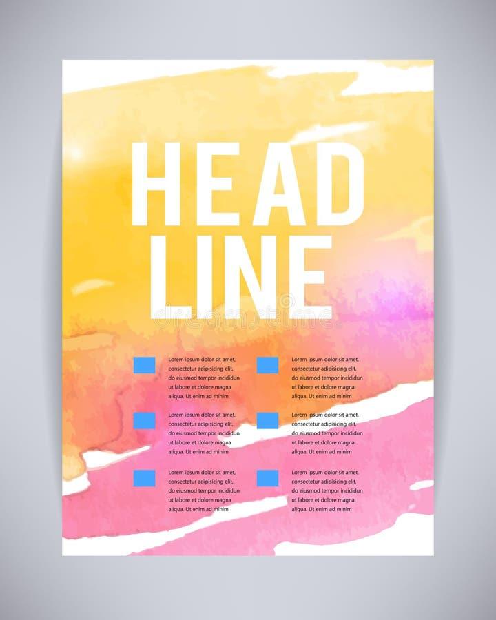 传染媒介小册子和飞行物,与自由设计染黄的抽象油漆的海报模板,桃红色水彩在纸或c飞溅,滴下 向量例证