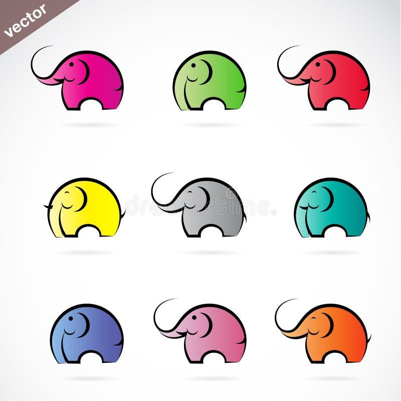 传染媒介小组五颜六色的大象 皇族释放例证
