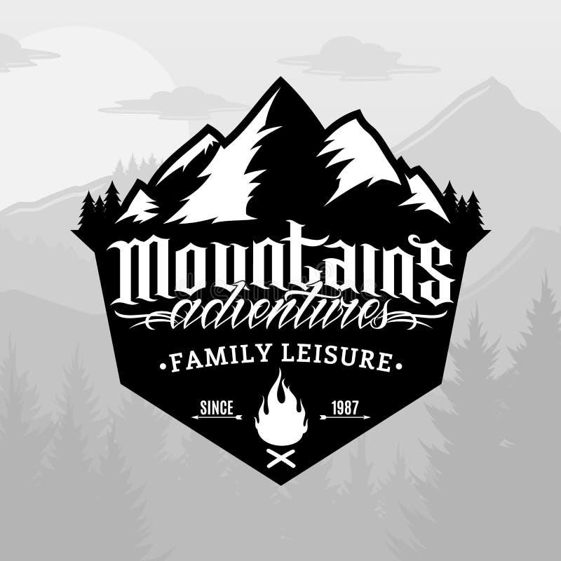 传染媒介山和室外冒险商标 库存例证
