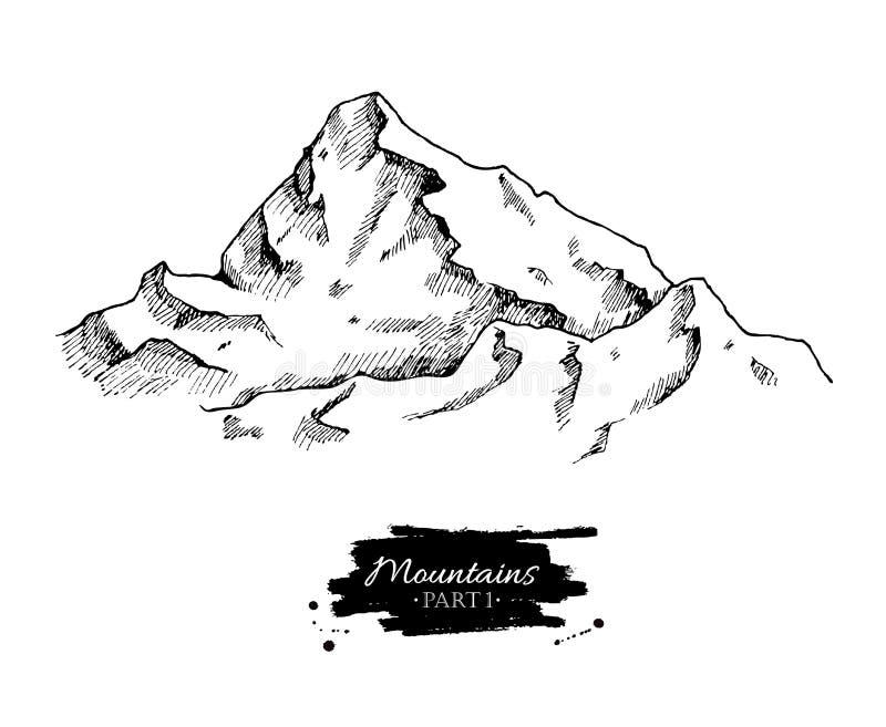 传染媒介山画 手拉的山例证 向量例证