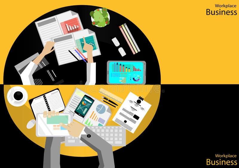 传染媒介工作场所商人顶视图 现代通讯技术分配,支持机动性、笔记本、表、t笔和纸, 向量例证