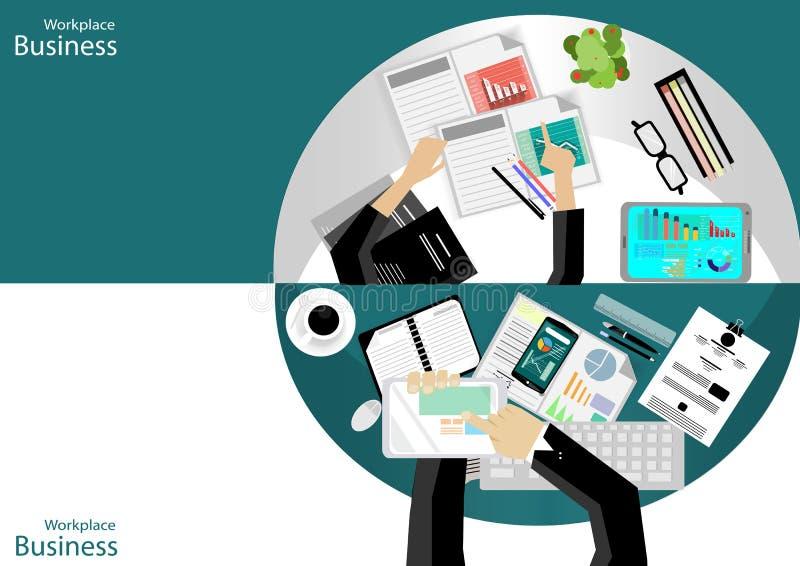 传染媒介工作场所商人顶视图 现代通讯技术分配,支持机动性、笔记本、表、t笔和纸, 库存例证