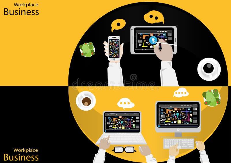 传染媒介工作场所商人顶视图 现代通讯技术分配,支持机动性、笔记本、表、t笔和纸, 皇族释放例证