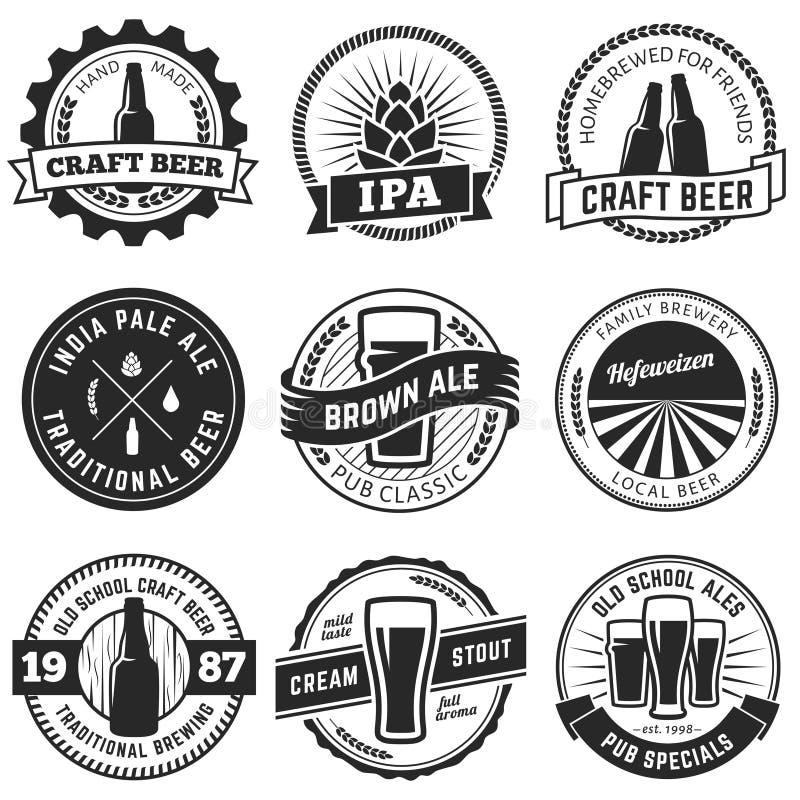 传染媒介工艺啤酒商标 免版税库存图片