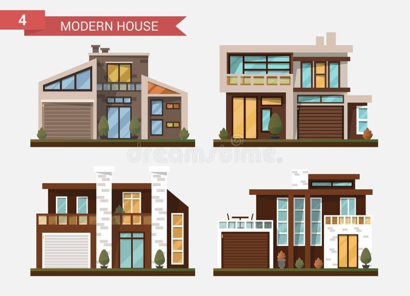 传染媒介平的例证传统和现代房子 房子 公寓营业所安排工作 私有路面,后院与 向量例证