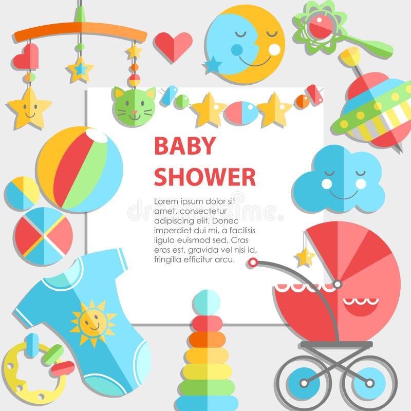 传染媒介平的初期bacground 婴孩产品 装饰框架, 向量例证