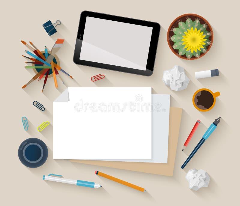 传染媒介平的工作场所大模型顶视图:片剂,纸,创造性 皇族释放例证