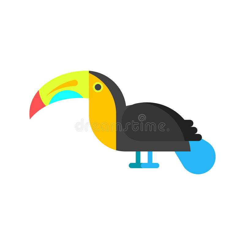 传染媒介平的样式例证toucan 库存例证