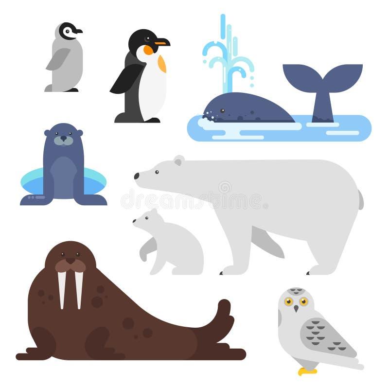 传染媒介平的样式套北极动物 向量例证