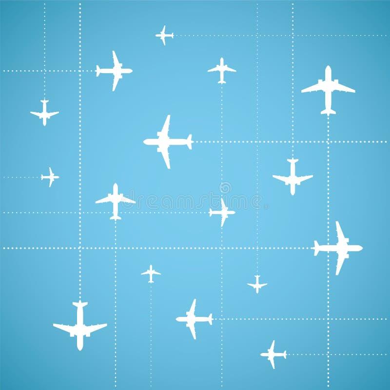 传染媒介平的样式航空旅行背景 向量例证