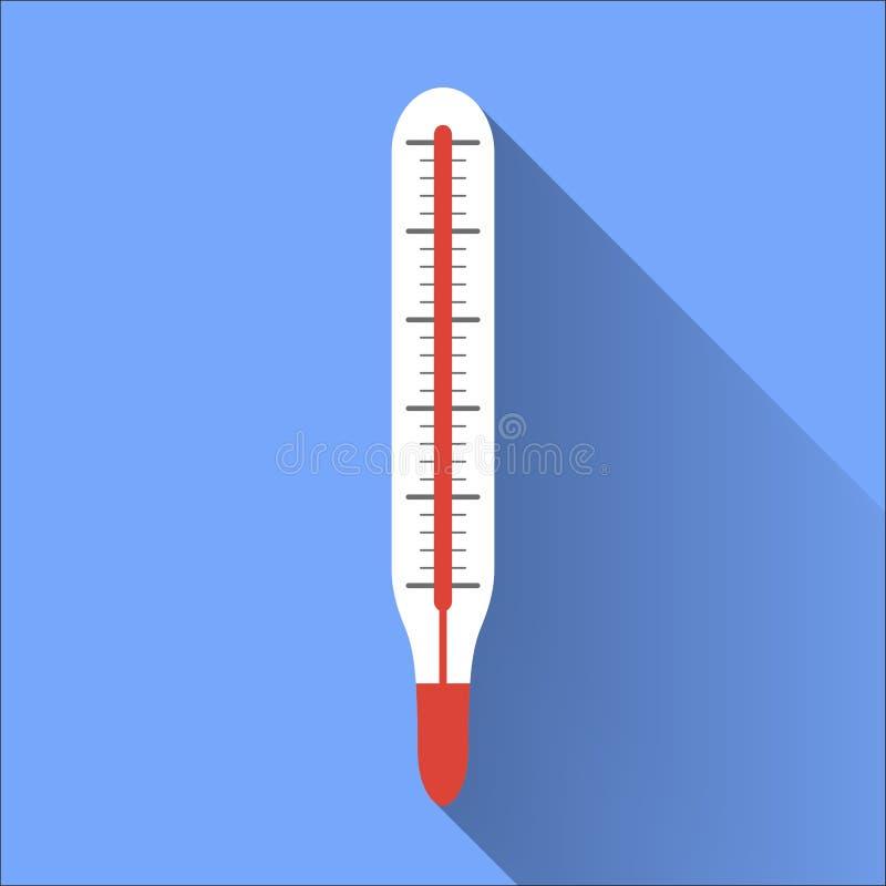 传染媒介平的温度计 免版税库存图片