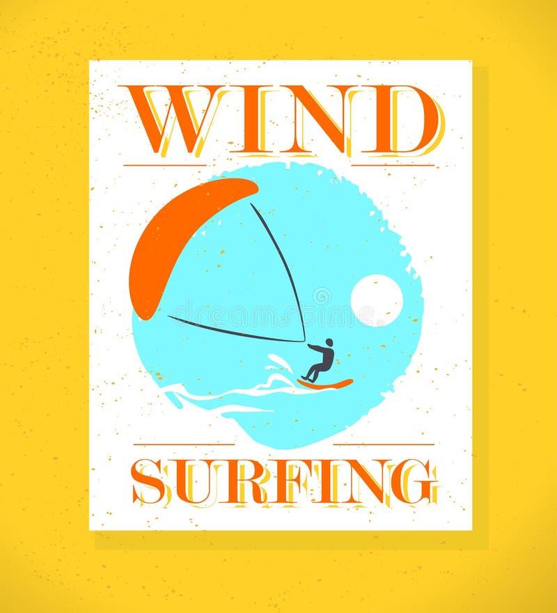传染媒介平的风冲浪的商标例证 向量例证