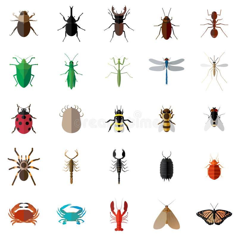 传染媒介平的25个臭虫昆虫集合 免版税库存图片
