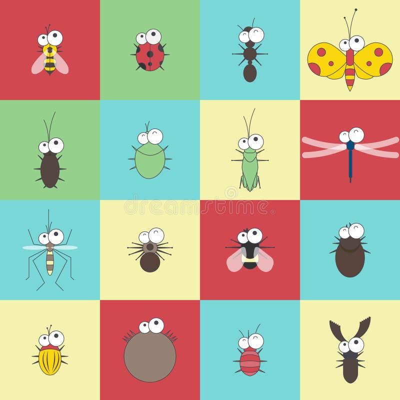传染媒介平的滑稽的动画片臭虫昆虫集合 库存图片
