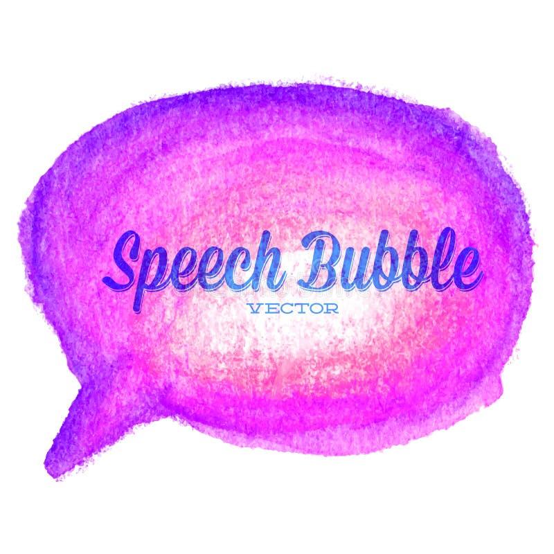 传染媒介水彩得出的紫色讲话泡影 库存例证
