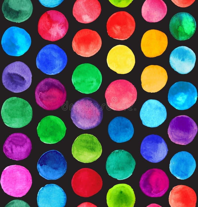 传染媒介水彩盘旋无缝的样式(铺磁砖) 减速火箭的手拉的圈子装饰品 圆形样式 圆形 绘 库存例证