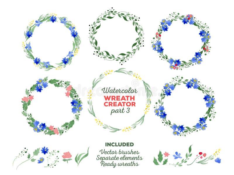 传染媒介水彩花圈和分开花卉 皇族释放例证