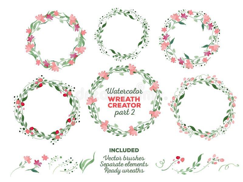 传染媒介水彩花圈和分开花卉 免版税库存照片