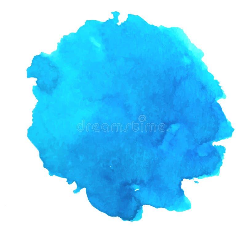 传染媒介水彩蓝色飞溅 抽象深蓝污点背景 海,热带海洋,盐水湖元素 天蓝色的一滴 向量例证
