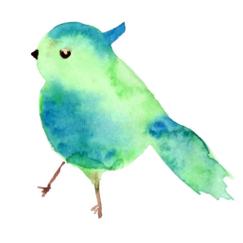 传染媒介水彩鸟形状纹理 蓝色和绿色飞溅 艺术性的一滴 向量例证